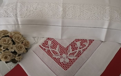Museum !! Pure linen sheet with Burano di Venezia embroidery completely handmade - Linen - 21st century