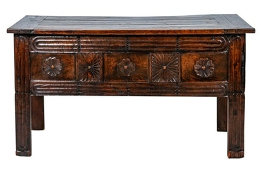 NORMANDY CARVED OAK & WALNUT DOWRY CHEST