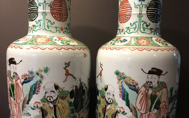 OLD Large pair Chinese Famille Rose Vases with Figurines, 19th century or early