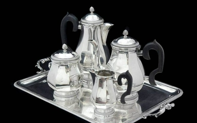 OLIER CARON - FRENCH ART DECO STERLING SILVER TEA /