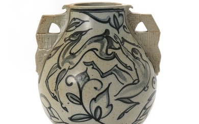 Ove Larsen: A large stoneware vase modelled with two stylized handles with incised motifs of fabulous creatures. H. 34 cm.