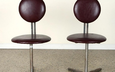 PAIR LEATHER UPHOLSTERED STEEL SWIVEL CHAIRS 1960