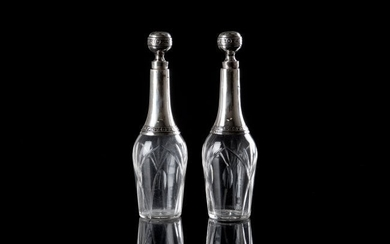PAIR OF FRENCH SILVER MOUNTED BOTTLES