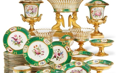 PARIS (L. RIHOUET) PORCELAIN PART DESSERT SERVICE, MID-19TH CENTURY, MOST WITH IRON-RED RUE DE LA PAIX MARKS