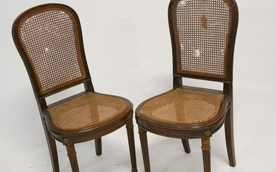 Pair French Carved & Caned Walnut Side Chairs