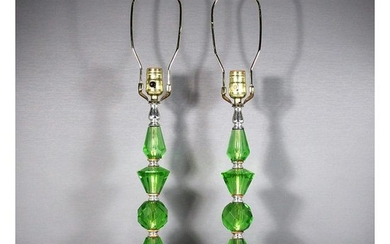 Pair Green Hollywood Regency Table Lamps Marble Bases