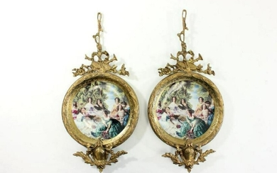 Pair Sevres Style Porcelain Wall Hangings
