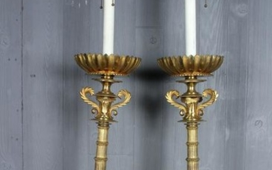 Pair Tall Bronze Candlestick Form Lamps