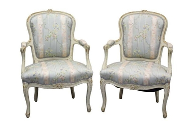 Pair of 19th century French cream painted open armchairs
