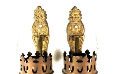 Pair of Brass Wall Mount Candle Holders Sconces