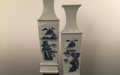 Pair of Chinese Blue-White 'Landscape' Square Vase