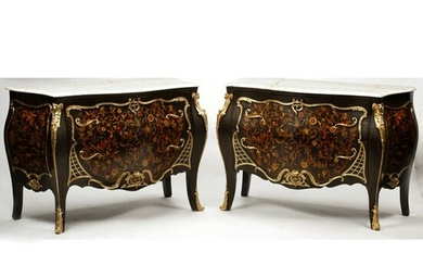 Pair of French Louis XV Style Marquetry Inlaid