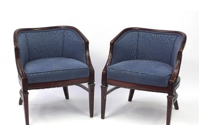 Pair of French style mahogany framed tub chairs with blue up...