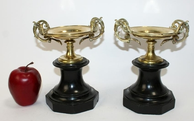 Pair of French tazzos on marble bases