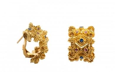 Pair of Gold and Sapphire Earrings