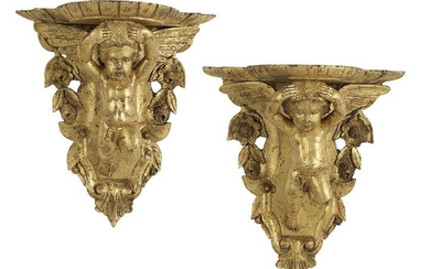 Pair of Italian Giltwood Figural Brackets