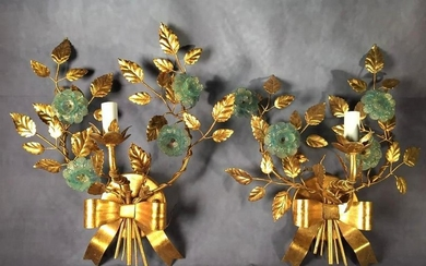 Pair of Italian one light Gilt Metal and Glass Wall Sconces, c.1950's, with a single scrolled arm issuing from a bow, with leafy branches flanking, each branch set with pale blue glass flowers with gold foil inclusions. 18 x 14 in. 7.25 in d...