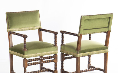 Pair of Louis XIV style armchairs in turned wood, early decades of the 20th Century.