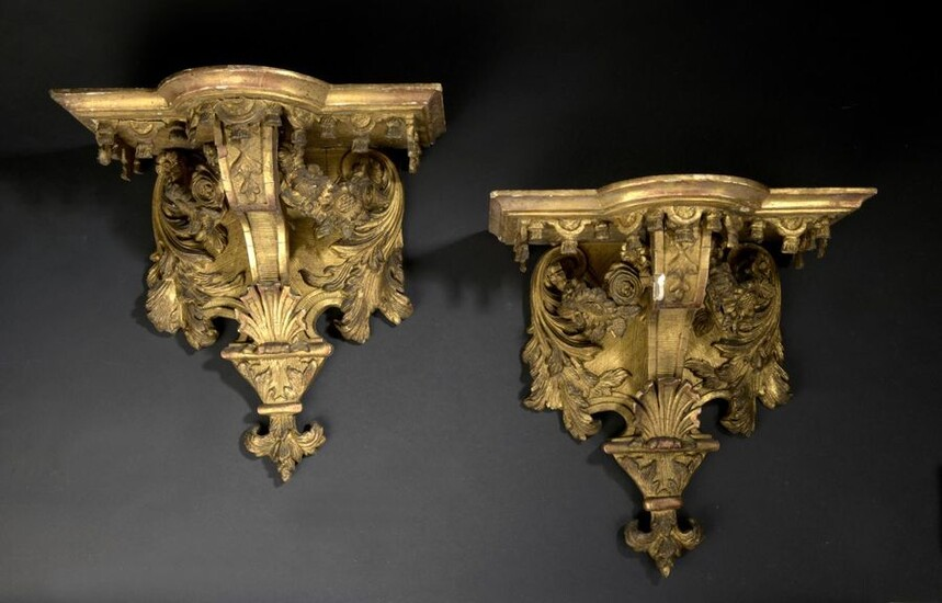 Pair of Louis XIV style gilded stucco and wood sconces, circa 1850