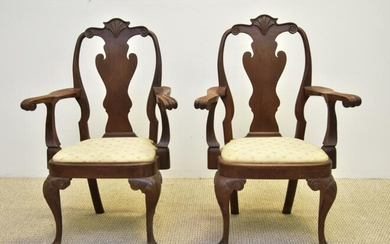 Pair of Queen Anne Style Arm Chairs