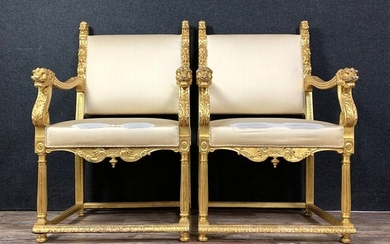 Pair of armchairs - Gilt, Wood - Late 19th century