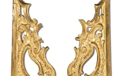 Pair of fragments of carved and gilded wooden