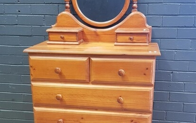 Pine 6 Drawer Chest with Mirror Top (h:120 x w:90 x d:43cm)