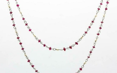Platinum Ruby and Pearl Handmade Necklace