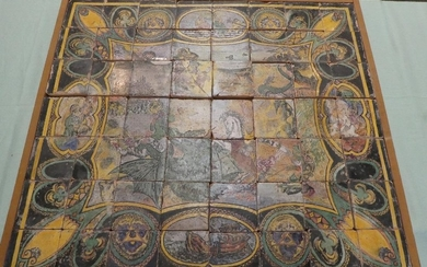 Portuguese ceramic tile with mythical creatures & castles c1...