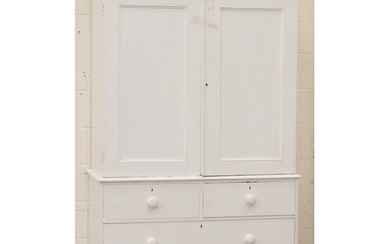 Property of a lady - a Victorian white painted pine two-part...