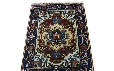 Pure Wool Hand-Knotted Indo Heriz Oriental Rug