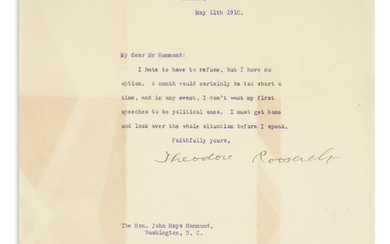 ROOSEVELT, THEODORE. Typed Letter Signed, to John Hays Hammond
