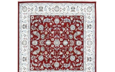 Red Nain Wool And Silk All Over Design 250 KPSI Hand