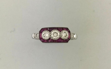 Ring in white gold 750°/°°°sertie of 3 diamonds set with calibrated rubies, Finger size 53, Gross weight: 4g
