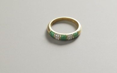 Ring in yellow gold, enamels and diamonds