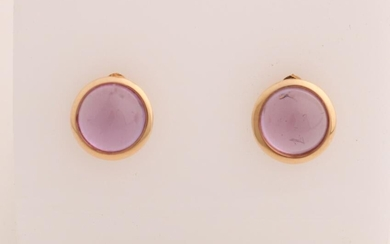 Rose gold ear studs, 750/000, with amethyst. Round ear