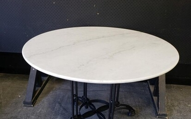 Round Marble Top Table On Cast Iron Base (H77 x D100cm)
