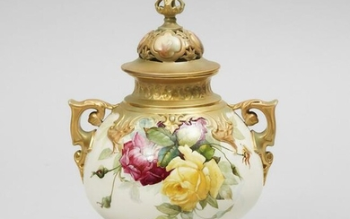 Royal Worcester 'Hadley Roses' Two-Handled Potpourri