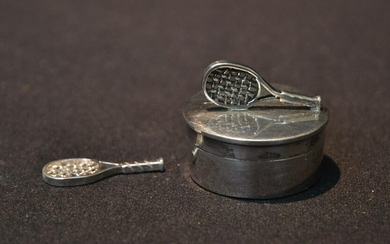 STERLING SILVER TENNIS RACQUET FORM PILL BOX