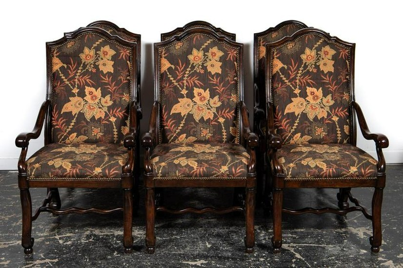Set, Six Louis XIV Style Upholstered Dining Chairs