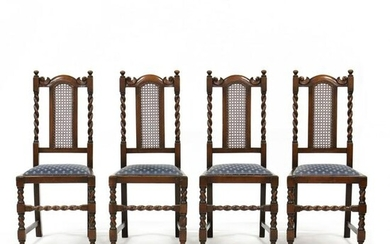 Set of Four William and Mary Style Carved Oak Caned