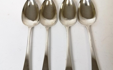 Set of four silver table spoons by Robert Rutland, 1810. 8oz...