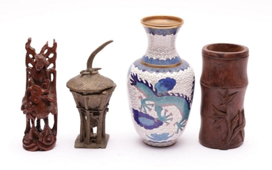 Small bamboo brushpot H:12cm, together with other items incl cloisonne vase, coins and others