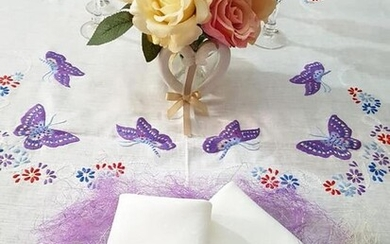Spectacular Tablecloth x12 in pure linen with hand-stitched Butterflies embroidery - 265 x 175 cm - Linen - AFTER 2000