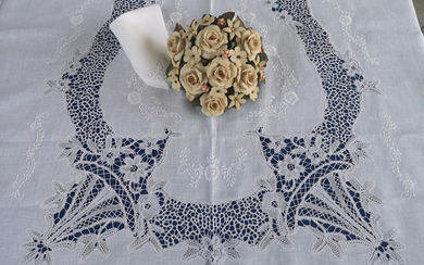 Spectacular tablecloth x12 (with 24 napkins) pure linen and 'Cantu' by hand - Linen - AFTER 2000