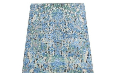 THE WATER LILIES Silk With Oxidized Wool Hand-Knotted
