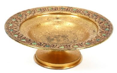 TIFFANY FURNACES DORE BRONZE & ENAMEL COMPOTE
