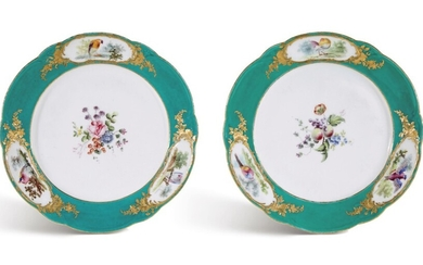 TWO VINCENNES OR EARLY SEVRES PORCELAIN GREEN-GROUND PLATES FROM THE FREDERIK V SERVICE, CIRCA 1755