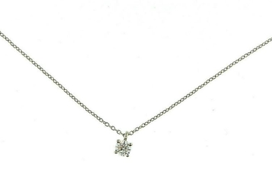 Tiffany & Co. Platinum Solitaire Diamond Pendant Chain