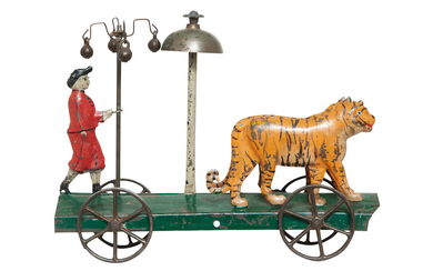 Tin Toy of Trainer and Two Tigers on Mobile Platform